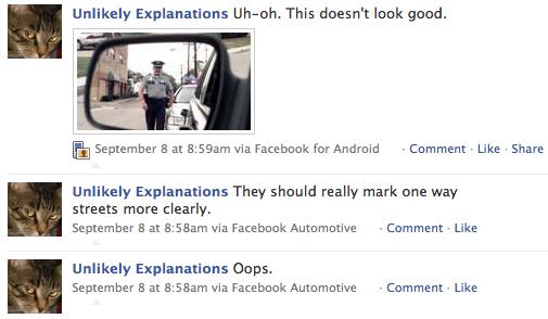 facebook update from a car