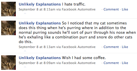 Facebook updates while driving to work