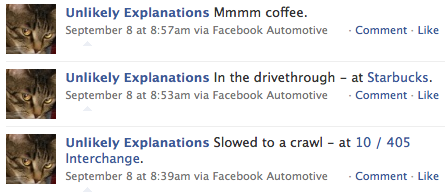 facebook updates from my car