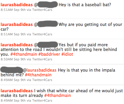 twitter transcript from a car