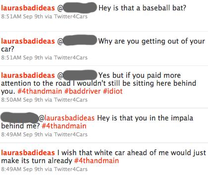 twitter transcript from a car