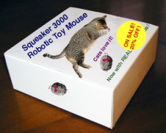 Packaging for the Squeaker 3000 Robotic Toy Mouse