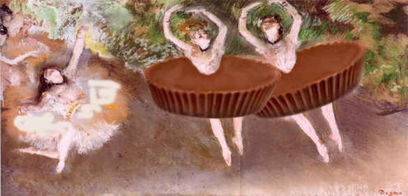 Edward Degas Ballet Scene painting, with two dancers wearing Reese's tutus.