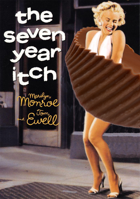 Marilyn Monroe standing on a subway grate with her dress -- or in this case, her Reese's peanut butter cup skirt -- blowing in the wind, from The Seven Year Itch