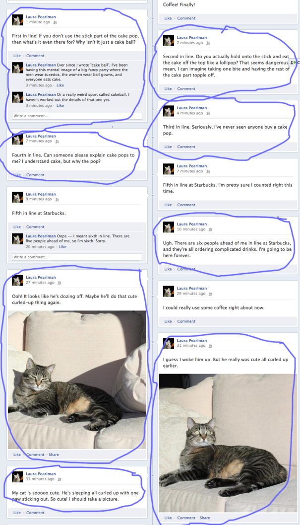 A very boring Facebook timeline, with some updates marked for highlighting.
