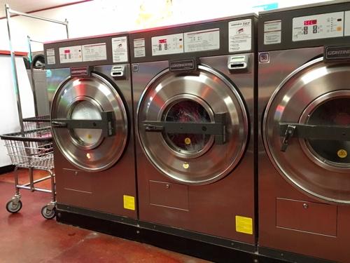 Inside the laundromat